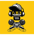 rap battle sign with skull and two microphones vector image