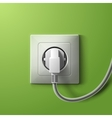 Realistic electric white socket and plug on green vector image