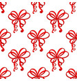 red ribbon bows as seamless pattern vector image