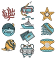 Sea leisure flat design icons vector image vector image