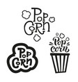 set 3 popcorn text labels in different styles vector image vector image