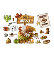 set cowboy and wild west labels and sticker vector image vector image