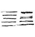 set of black grunge thin and thick brush strokes vector image