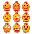 Set of cheerful cock emotions Icons to the fire vector image vector image