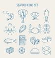 set sea food icons vector image