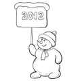 snowmens boy with sign contours vector image vector image
