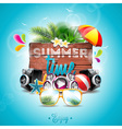 Tropical plants flower music elements beach ball vector image vector image