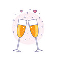 two glasses champagne line art icon vector image