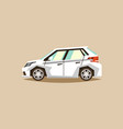white car hatchback side view transport for vector image