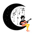 with musician acoustic guitar stars crescent vector image