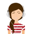 woman with headphones isolated icon design vector image