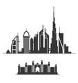 dubai city skyline silhouette on white background vector image