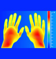 thermal imager human hands and finger the image vector image