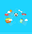 dog link with accessories and toy with dash line vector image