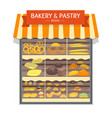bakery and bread products showcase store vector image