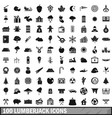100 lumberjack icons set simple style vector image vector image