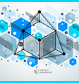 abstract geometric isometric blue background vector image