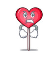 angry heart lollipop mascot cartoon vector image vector image
