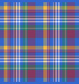 blue check plaid tartan seamless fabric texture vector image vector image