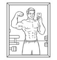 body builder selfie coloring book vector image