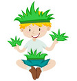 Boy in grass costume vector image vector image