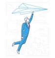 businessman flying on a paper plane - line design vector image