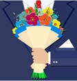 cartoon businessman hand holding bouquet flowers vector image
