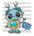 cartoon robot on striped background vector image