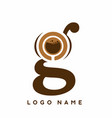 classic g initial letter with coffee cup sign logo vector image