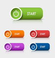 Colored rectangular web buttons start vector image vector image