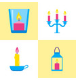 colorful candle icons set in flat style vector image