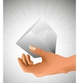 cube in the palm of your hand vector image vector image