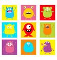 cute monster icon set happy halloween cartoon vector image vector image