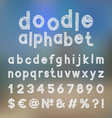 Decorative doodle alphabet vector image