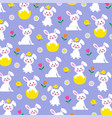 easter bunny and chick pattern on purple vector image vector image