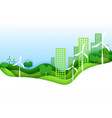 eco city concept poster in paper art origami style vector image vector image