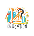 education day label concept with educational vector image vector image