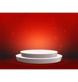 Empty template of white round podium on red vector image vector image