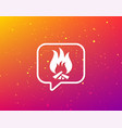 fire icon blazing bonfire flame sign vector image vector image