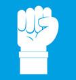 fist icon white vector image vector image