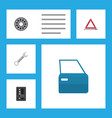 flat workshop set of automobile part warning vector image vector image