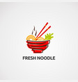 fresh noodle logo icon element and template vector image