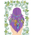 girl with feathers in her hair and floral pattern vector image vector image
