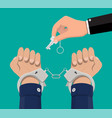 hand with key unlocking handcuffs vector image