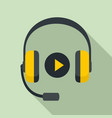 headphones sound learning icon flat style vector image vector image