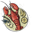 Lobster on a dish vector image
