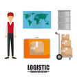 logistic and transportation design vector image vector image