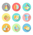 newborn infant themed cute flat icon set baby vector image vector image