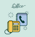 office telephone and address book contact work vector image