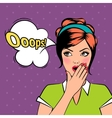 Oops comic pop art woman with bubble vector image vector image